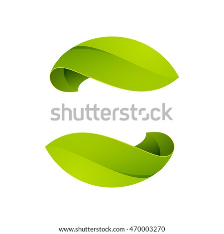 Green leaves icon. Vector ecology sphere logo.