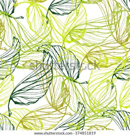 green leaves semless pattern