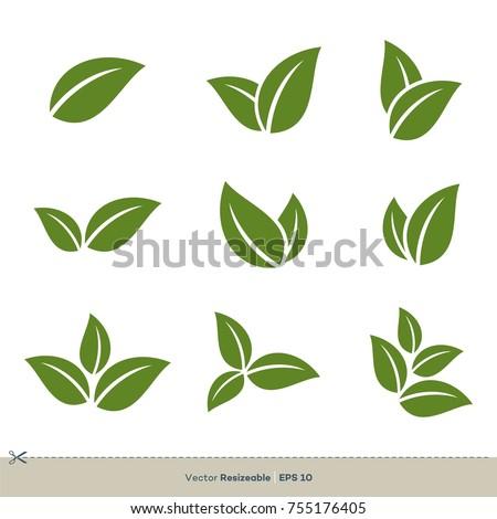 Green Leaves Set Vector Logo Template Illustration Design. Vector EPS 10.