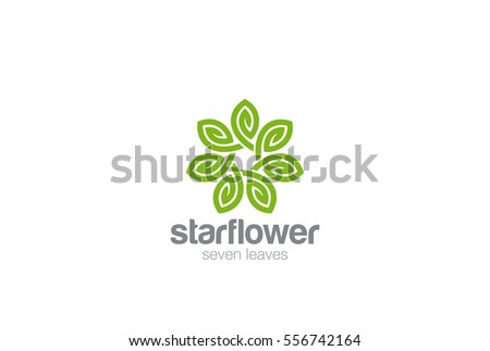 Green Leaves Star Flower Logo design Infinity loop vector template. Eco Natural Organic Logotype concept icon