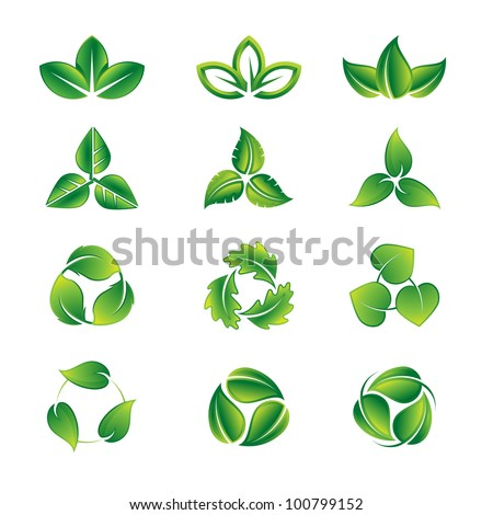 green leaves vector icon set