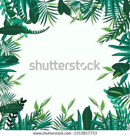 Green leaves vector illustration  #1353857753