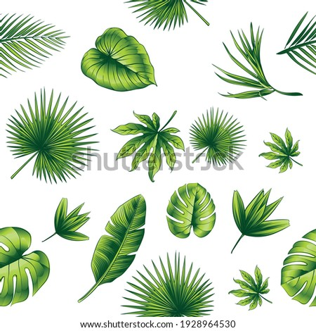 Green Leaves Vector Seamless Repeat Pattern in Ai.