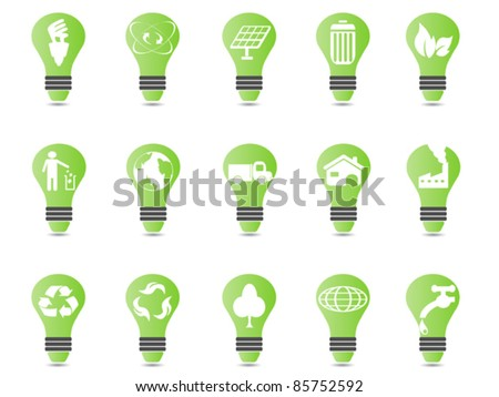 green light bulb icon set