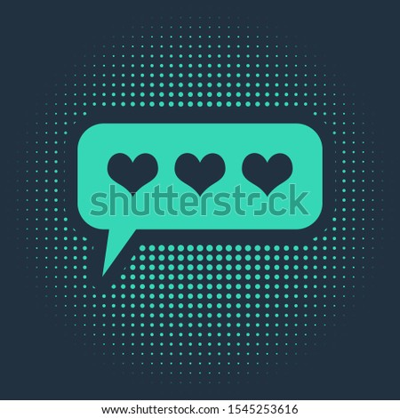 Green Like and heart icon isolated on blue background. Counter Notification Icon. Follower Insta. Abstract circle random dots. Vector Illustration