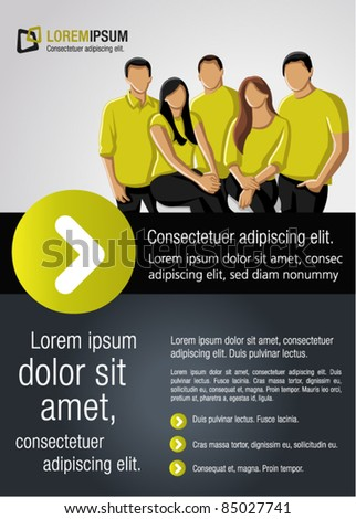 Green lime and black template for advertising brochure with a group of people - stock vector