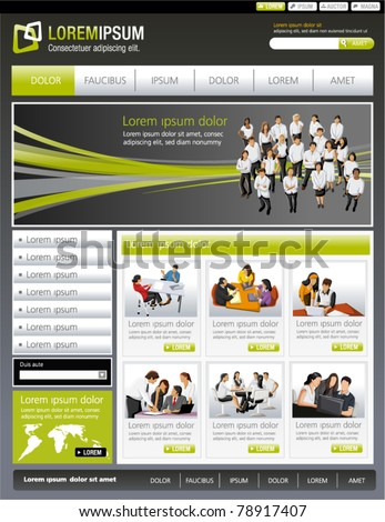 Green lime and gray business website Template