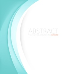 Green line background green turquoise curve line element vector paper overlap background with white space for text design , vector