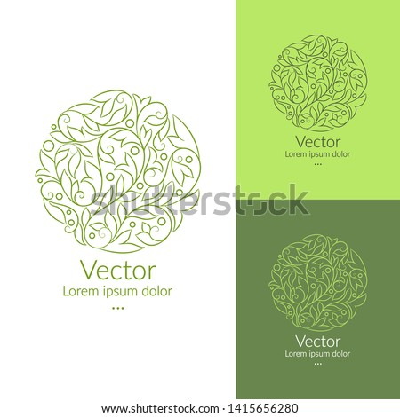 Green linear leaf emblem. Elegant, classic vector. Can be used for jewelry, beauty and fashion industry. Great for logo, monogram, invitation, flyer, menu, brochure, background, or any desired idea.