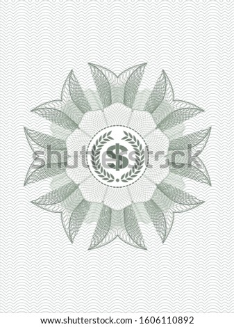 Green linear rosette with laurel wreath with money symbol inside icon inside