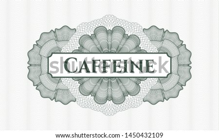 Green linear rosette with text Caffeine inside