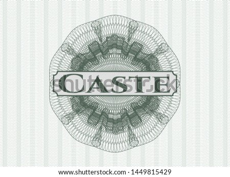 Green linear rosette with text Caste inside