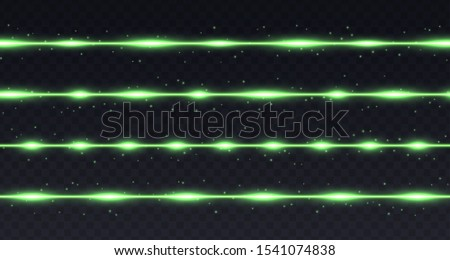 Green lines with highlights and sparkles isolated on transparent background. Transparent vector light effect. Glowing decoration.