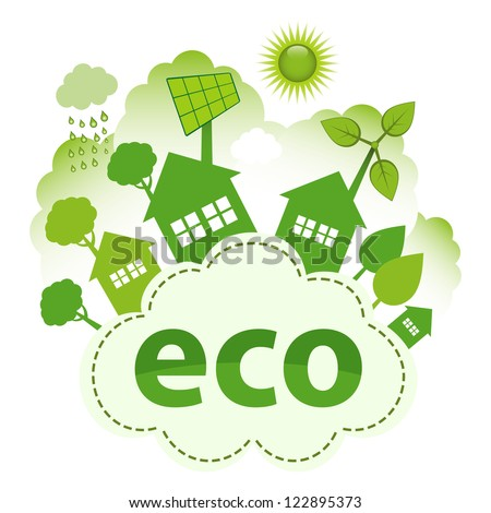 Green living concept. Green city on ECO cloud.