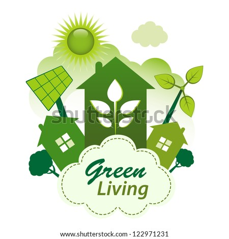 Green living concept. Green housing community on a cloud.