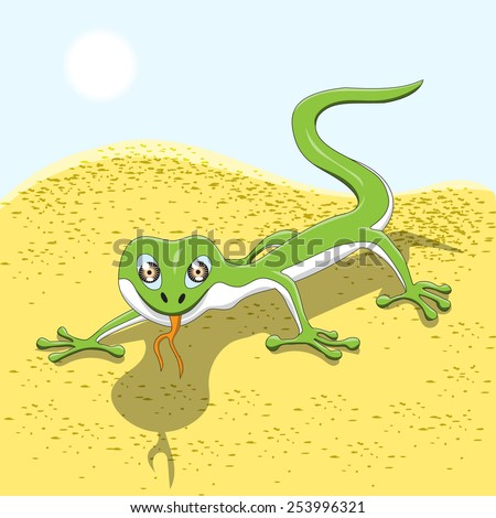 Green Lizard In Sand Of Desert. Cartoon Character Isolated ...