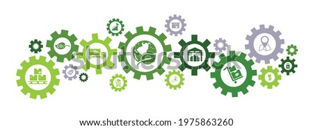 green logistics and supply chain vector. Concept with connected icons related to sustainable transport, eco-friendly distribution or shipping, smart solutions for cargo and import and export. Photo stock ©