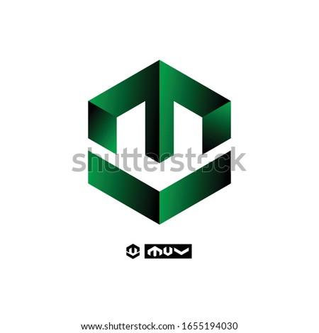 green logo collection of letters M V U. logo in hexagon. M monogram. M letter V letter or a combination of the letter M U V. Stock fotó ©