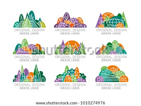 Green logos set. Abstract icons with amusement park, factory, city view, theater, and buildings against forest background. Environment concept. Linear vector design
