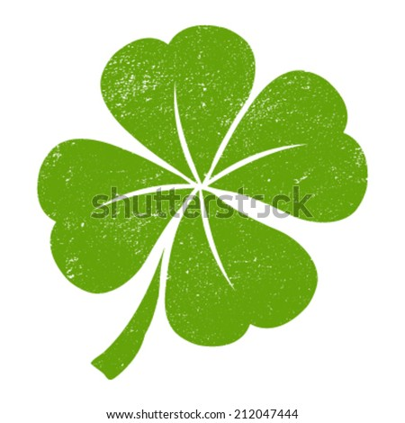 Green Lucky Four Leaf Irish Clover for St. Patrick's Day with distressed rough texture