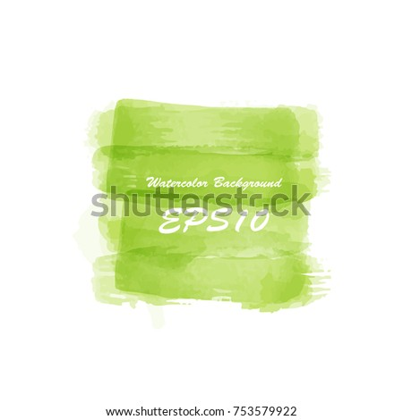 Green lush grass. Watercolor abstract colored background for text banner. Watercolour isolated vector illustration backdrop. Wet hand drawing splash spot poster frame.