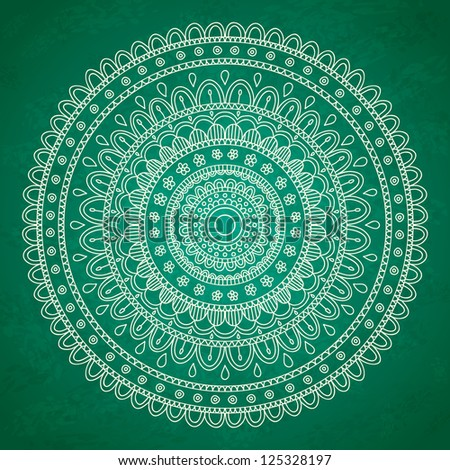 Green mandala ornament background. Vector image.