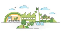 Green manufacturing factory industry with ecological power resource supply outline concept. Energy production from organic, clean and emissions free alternatives vector illustration. Solar panel house
