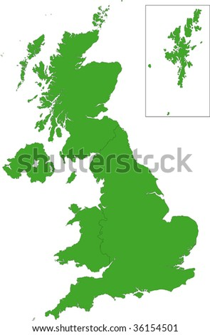 Green map of the United Kingdom - stock vector