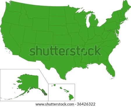 Green map of the United States of America with state borders