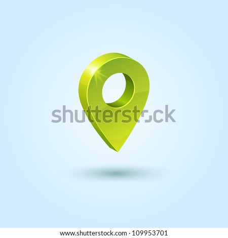 Green map pin symbol isolated on blue background. This vector icon is fully editable.