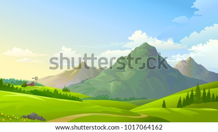Stock Photo Green meadows with three mountains in the background