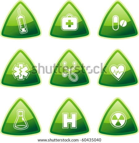 Green medical signs on triangle buttons