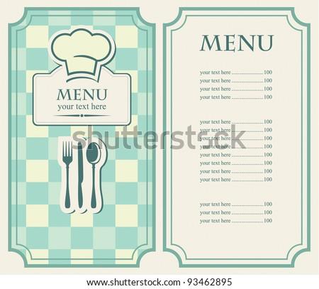 green menu for a cafe or restaurant