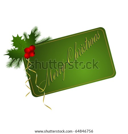 Green Merry Christmas card on white background. Vector eps10 illustration - stock vector