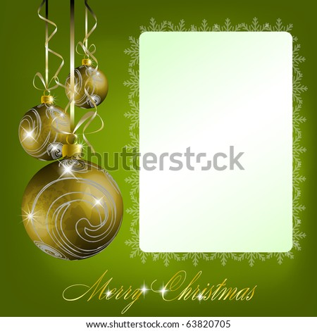 Green merry christmas postcard. Vector eps10 illustration