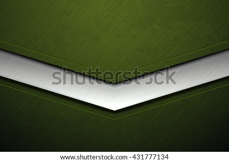 Green metal army background with damaged military grunge texture. Vector scratched surface and stainless steel line