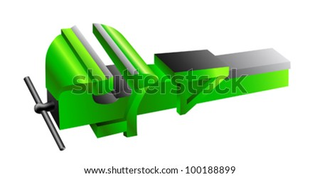 green metal vise on a white background