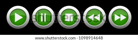 green metallic music control buttons set - five icons with shadows in front of a black background