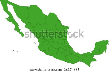 Green Mexico map with state borders