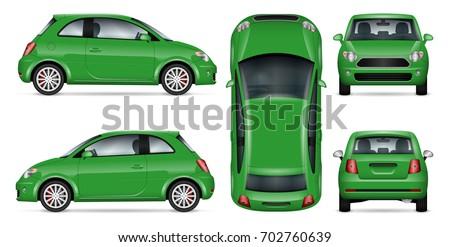 green mini car vector mock up
