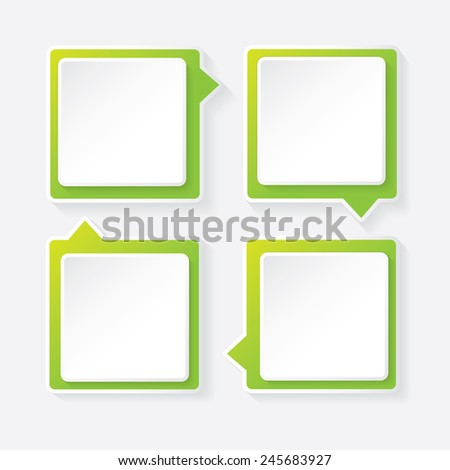 green modern paper banners set / can be used for infographics / numbered banners / horizontal cutout lines / graphic or website layout vector