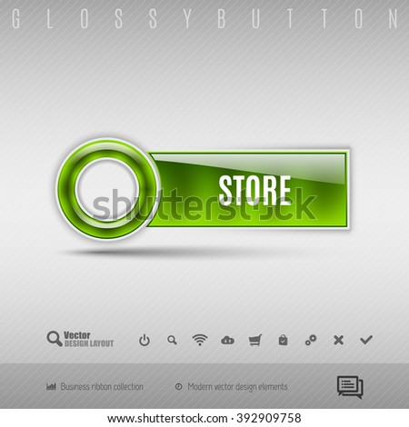 Green modern plastic button with circle on the gray background. Vector design element.