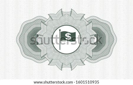 Green money style emblem or rosette with flag with money symbol inside icon inside