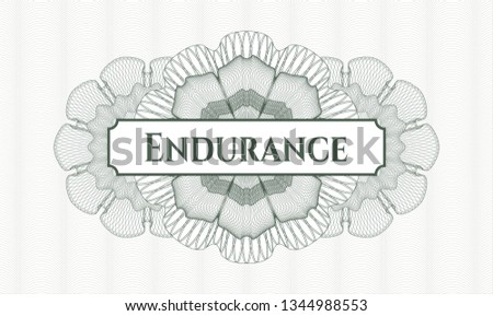 Green money style emblem or rosette with text Endurance inside