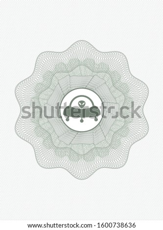 Green money style rosette with ufo with aline inside icon inside