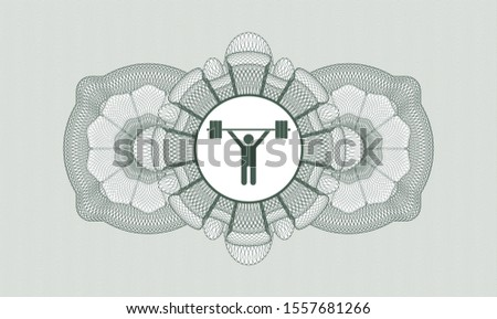 Green money style rosette with weightlifting icon inside