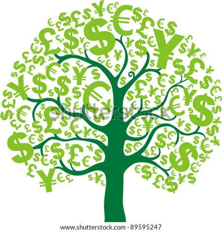 Green money tree isolated on White background. Vector Illustration