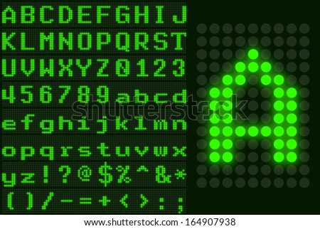 green monospace dotted led