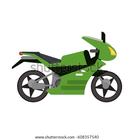 green motorcycle transport style