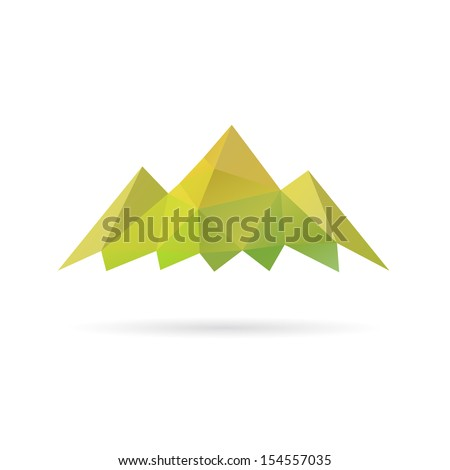 Green mountain abstract isolated on a white backgrounds, vector illustration
